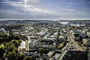Фото Швеция Дома Горизонта Водный канал Сверху Gothenburg город