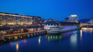 Фотографии Швейцария Вечер Река Пристань Дома Geneve город