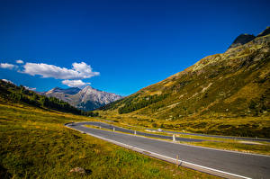 Обои для рабочего стола Швейцария Горы Дороги Альпы Graubünden Природа