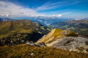 Обои Швейцария Горы Небо Альпы Облачно Graubünden Природа