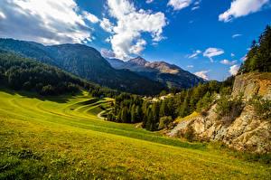 Картинки Швейцария Горы Небо Альп Облака Graubünden