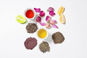 Фотографии Чай Розы Лимоны Белом фоне Чашка Лепестков Еда