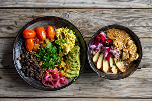 Обои Вторые блюда Овощи Фрукты Каша Помидоры Тарелке Продукты питания