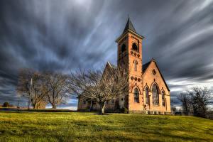 Фотографии Штаты Церковь Деревья HDR Пенсильвания Природа