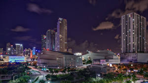 Фотография США Дома Флорида Майами Ночные Города