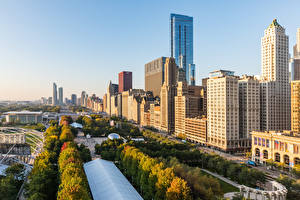 Картинки США Здания Утро Небоскребы Чикаго город