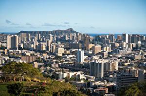 Фотография Штаты Здания Гора Гавайи Сверху Honolulu, Oahu город