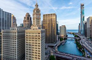 Обои для рабочего стола Штаты Дома Небоскребы Чикаго город город