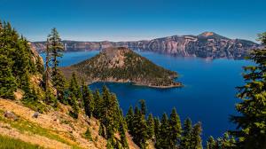 Картинки Штаты Озеро Гора Деревьев Crater Lake, Oregon Природа