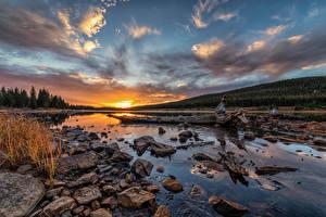 Картинки Штаты Озеро Камни Рассветы и закаты Небо Облака Brainard Lake, Colorado Природа