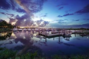 Картинка США Пристань Яхта Небо Флорида Облака Miami-Dade