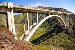 Фотографии Штаты Горы Мосты Калифорнии Bixby Creek Bridge Природа