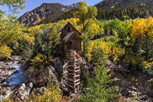 Картинка Штаты Горы Речка Камень Дерева Водяная мельница Crystal Mill, Colorado Природа