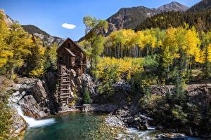 Картинки США Горы Речка Камни Водяная мельница Деревьев Crystal Mill, Colorado Природа