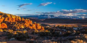 Фотография США Парк Горы Панорамная Пейзаж Облако Arches National Park, Utah
