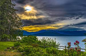 Обои США Парки Реки Небо Вашингтон Кусты Облака Seabeck State Park Природа картинки