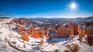 Картинка Америка Парк Зима Панорамная Пейзаж Солнце Снегу Скале Bryce Canyon National Park, Utah
