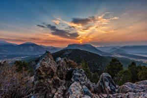 Фотографии США Рассветы и закаты Парки Горы Небо Rocky Mountain National Park Природа