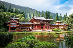 Фотография Америка Храмы Пруд Горы Гавайи Деревья Oahu, Byodo-In Temple, Ahuimanu