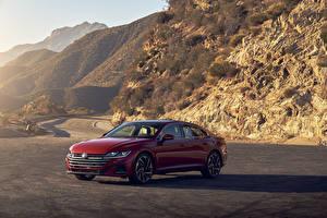 Обои для рабочего стола Volkswagen Красный Металлик 2021 Arteon 4MOTION R-Line авто