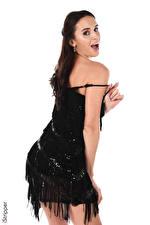 Картинка iStripper Leyla Lee Белом фоне Брюнетки Смотрит Руки Платья молодые женщины