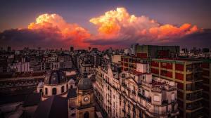 Обои Аргентина Вечер Здания Облачно Buenos Aires, Balvanera Города