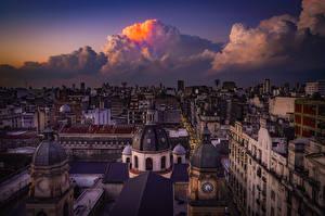 Фотография Аргентина Дома Вечер Сверху Облачно Крыша Buenos Aires город