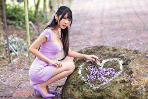 Картинка Азиатка Камни Брюнетка Позирует Сидит Платья Сердце Взгляд Девушки