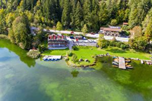 Картинки Австрия Озеро Побережье Здания Причалы Лодки Деревьев Lake Reintaler Tyrol Природа