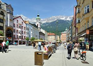 Фотография Австрия Улица Скамья Уличные фонари Велосипед Maria Theresa Street, Innsbruck