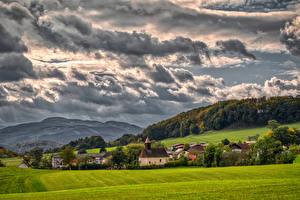 Обои Австрия Горы Поля Облачно Альп Upper Austria