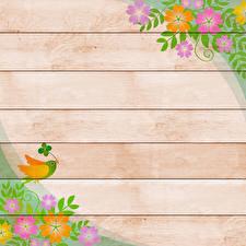 Картинка Птица Рисованные Ветвь Доски Шаблон поздравительной открытки Цветы