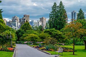Обои Канада Парки Здания Ванкувер Деревьев Скамья Stanley Park город
