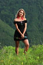 Фотография Cara Mell Поза Блондинок Трава Платье Смотрит молодые женщины