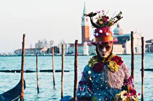 Картинка Карнавал и маскарад Маски Италия Шляпа Венеция