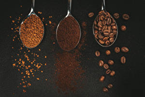 Обои Кофе Серый фон Втроем Ложки Зерно Еда