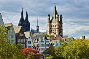 Фото Кёльн Германия Дома Осень Собор Cologne Cathedral Города