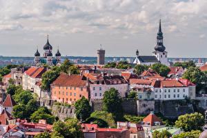 Обои Эстония Таллин Здания Собор Замок Башня Toompea Castle, Old Tallinn