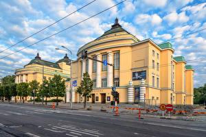 Фотографии Эстония Таллин Дома Улиц Облака Judgendstil Estonia Theatre город