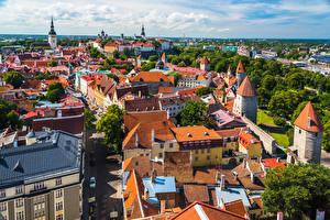 Картинки Эстония Таллин Здания Крыша Сверху город