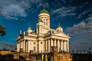 Фото Финляндия Хельсинки Собор Облако Helsinki Cathedral город