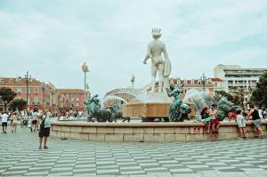 Картинки Франция Фонтаны Скульптура Городская площадь Place de Massena, Nice, Fountain Sun, Apollo