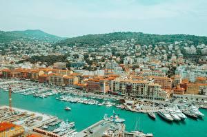 Картинка Франция Причалы Дома Яхта Катера Nice