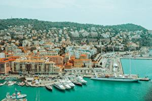 Обои Франция Причалы Корабли Яхта Nice, Alpes-Maritimes Города