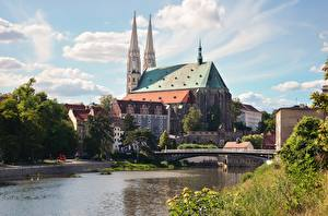 Обои Германия Мосты Реки Church Saints Peter and Paul, Saxony, Goerlitz, Neisse Города