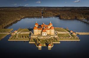 Фото Германия Замок Озеро Остров Сверху Moritzburg Castle город