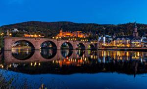 Фотографии Германия Здания Речка Мост Вечер Heidelberg город
