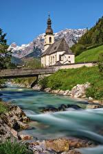 Обои Германия Горы Церковь Реки Мосты Бавария Альпы Berchtesgadener Природа