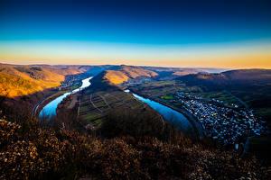 Обои Германия Речка Холмов Mosel, Rheinland-Pfalz Природа
