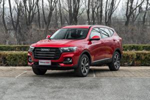 Картинки Haval Кроссовер Красная Металлик Китайский H6, 2021 Автомобили